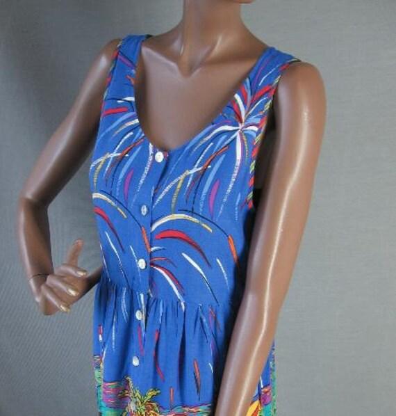 80s Sun Dress Vintage Novelty Print 1980s Empire High Waist Fauvist Medium