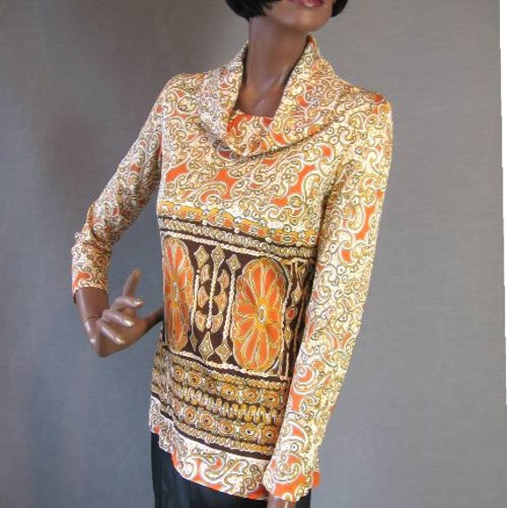60s Boho Top Vintage Pucci Style Print Psychedelic Sleek Small