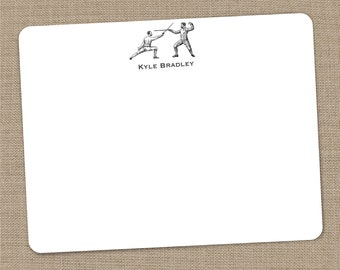 Personalized Fencing Flat Notecards