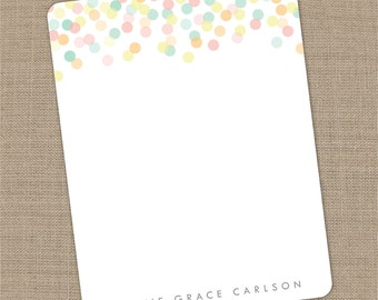 Personalized Confetti Flat Notecards