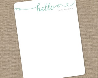 Personalized Hello Flat Notecards