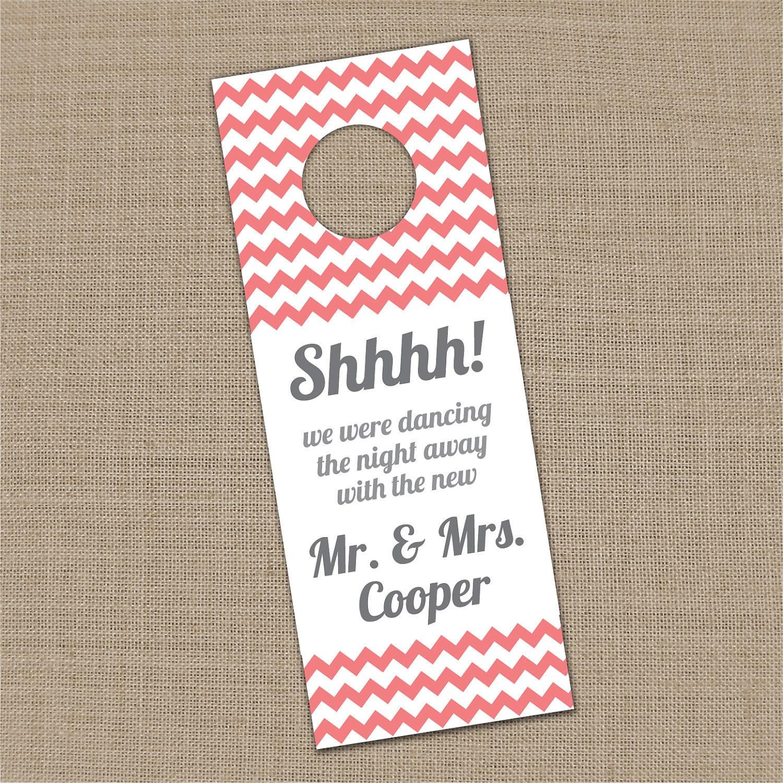 Ideas For Marriage Retreat Gift Bags : Printable Custom Chevron Wedding Guest Door Hanger Pick your