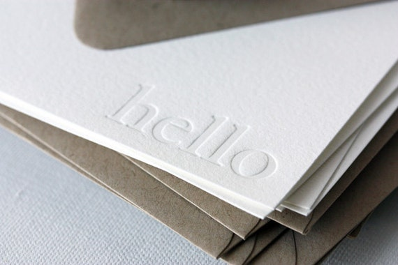 hello | letterpress boxed notecards | blind impression