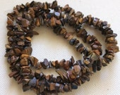 Tigers Eye Gemstone Chip Bead Strand - Cleansed and Charged