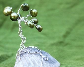 Pearl Mini Tree Sculpture in Silver Wire