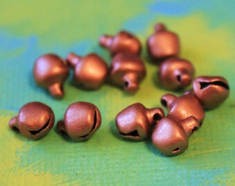 24sm Copper Gypsy Bells - small 6mm Brass Bells