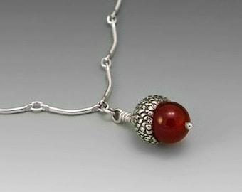 Acorn Sterling Silver Necklace, Carnelian