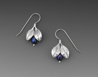 Mini Blueberry Sterling Silver Earrings with Cobalt Pearls or Lapis lazuli