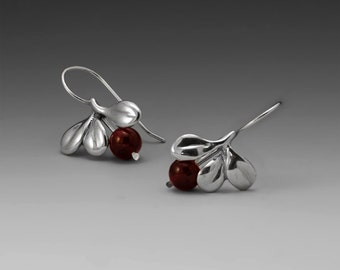 Lowbush Cranberry Sterling Silver Earrings, Garnets or Freshwater Pearls