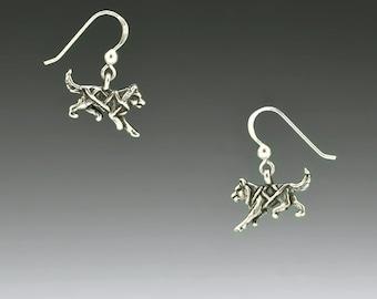 Dog Musher, Sled Dog Sterling Silver Earrings