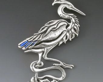 Heron Sterling Silver Spirit Pin/Brooch with Blue Enamel