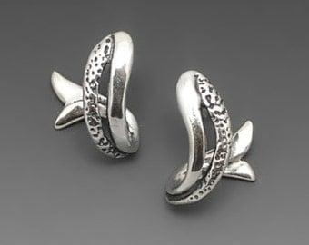 Salmon Sterling Silver Hooped Earrings