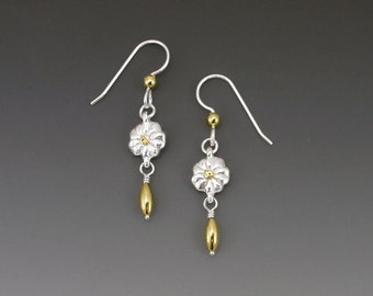 Forget-Me-Not Sterling Silver Earrings, Alaska Gold Nuggets