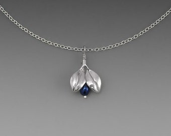 Mini Blueberry Sterling Silver Necklace with Blue Freshwater Pearl