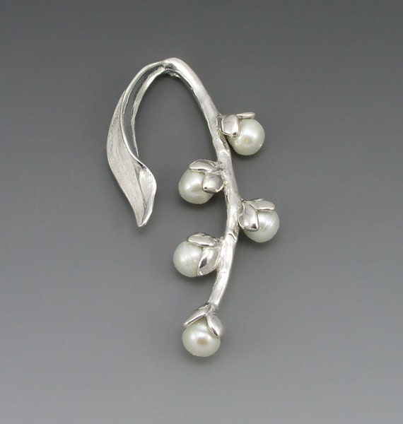 Pussywillow Sterling Silver Brooch/Pin with White Pearls