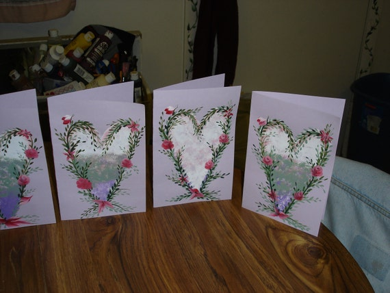 Valentine card - hand painted Hearts N Roses