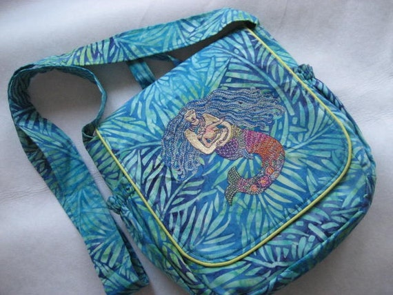 Embroidered Mermaid Mommy Purse Diaper Bag or Project bag