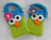 Crocheted Owl Cell Phone/ IPhone / Small Gadget Cozy/ Blue and Lime Green