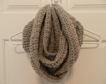 Crocheted Cowl/ Infinity Scarf/ Silver Heather