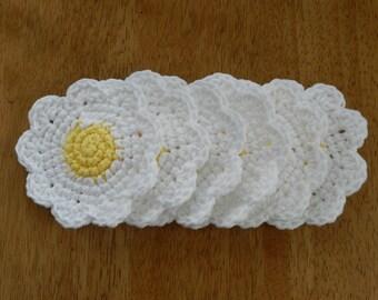 Crochet Daisy Coasters/ Set of Six