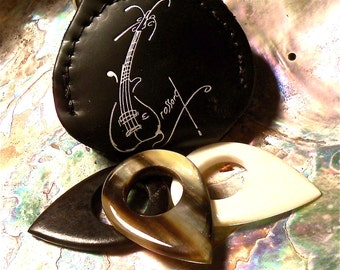 The Bone, Ebony and Horn Set, Custom made Guitar Pick/Guitar Picks