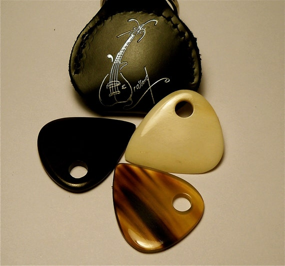 The Bone, Ebony and Horn Set, Brossard Handmade Guitar picks including a keychain pocket