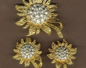 Vintage Rhinestone Flower Brooch Pin & Clip Earring Set 1980s Sunflower