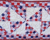 Red white and blue pinwheel tablerunner