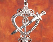 ERZULIE DANTOR VEVE - Solid Cast Voodoo Lwa Vodou Pendant Charm in Sterling Silver or Bronze