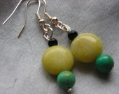 Yellow Stone and Turquoise Earrings