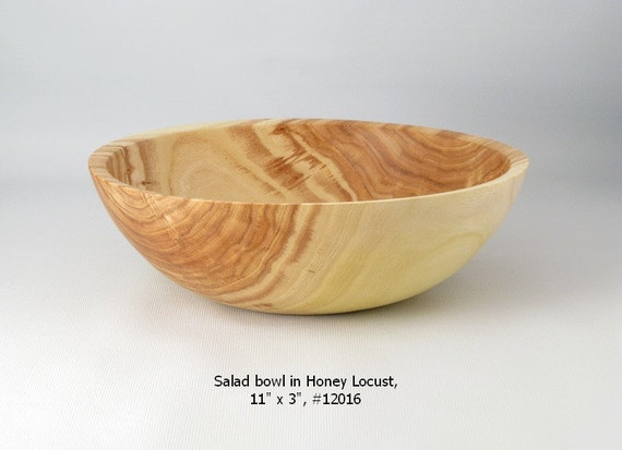 "Wooden Salad Bowl, 11"" x 3"" in reclaimed wood"