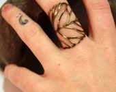 Filigree Leaf Wrap Ring - Pick Your Color and Pick Your Size