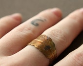 Feather Wrap Ring in Hand-oxidized Brass - Pick your size and your color
