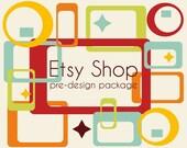 Etsy Banner Avatar Shop Set - Etsy Shop Banner - Premade Design Shop Package - Retro Look Design - Vintage Logo