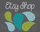 Etsy Shop Banner - Etsy Banner - Premade Etsy Shop Set - Etsy Design Package - Logo Business - Blues Green Paisley Bubble Design