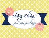 Etsy Shop Banner Avatar Set - Premade Etsy Design Package - Modern Pattern Yellow and Blue Flowers