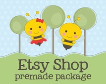 Etsy Shop Banner - Bee Premade Etsy Banner Avatar Shop Set - Etsy Store Package - Bee Creative Design Boy and Girl