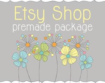 Etsy Shop Design, Etsy Banner, Premade Design Package, Etsy Cover & Shop Icon / Gray Doodle Dandelion Flowers Design / Logo Design Branding