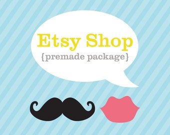 Etsy Banner, Etsy Shop Banner, Mustache and Lips Design, Etsy Cover and Shop Icon, Premade Design Package, Store Logo Design Wedding Couple