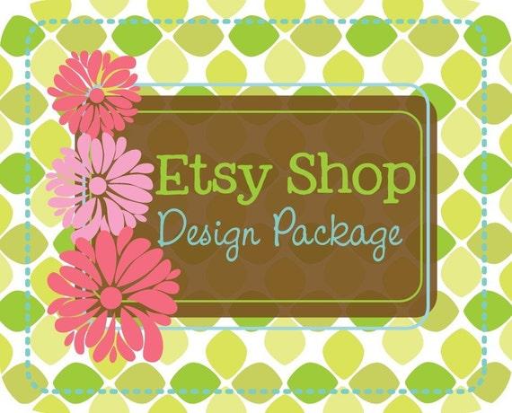Premade Etsy Shop Banner Avatar - Etsy Banner Design Package - Pinks and Leaves Design