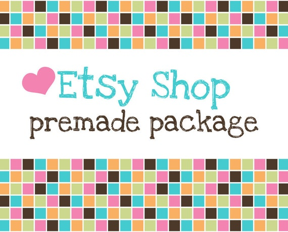 Etsy Shop Banner - Etsy Banner Avatar Set Design - Premade Design Package - Square Love Design - Hearts and Square Pattern