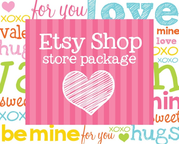 Etsy Banner Avatar Shop Package - Premade Design Store - Doodle Love is in the Air Design