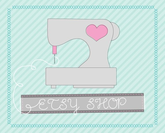 Premade Etsy Banner Avatar Shop Set - Etsy Premade Design Package - Sussy Sewing Machine Design