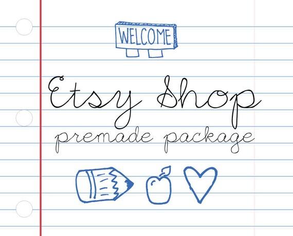 Etsy Banner Avatar Shop Set - Etsy Premade Design Package - Notebook Doodle Design