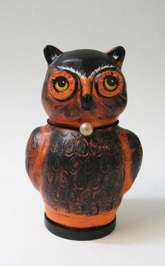 Halloween Fok Art Owl Sculpture