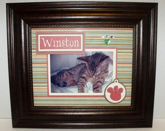 Kitty Cat Picture Frame Holds 5x7 Or 4x6 Photo