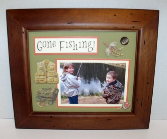 Gone fishing picture frame personalized by memoreasykeepsakes for Fishing picture frame