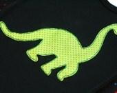 ROAR - Green Dinosaur on Black Infant Bodysuit