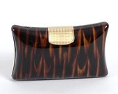 Vintage Italian 'Tiger' Plastic Interchangeable Clutch or Purse with Chain 1970's 70's