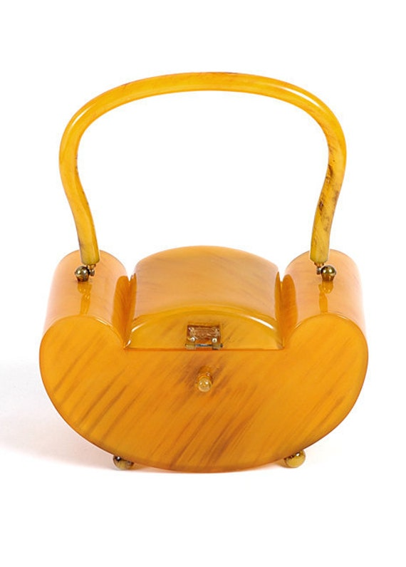 Beautiful Vintage 1940's Deco Butterscotch Bakelite Box Purse Handbag 40's 1930's 30's